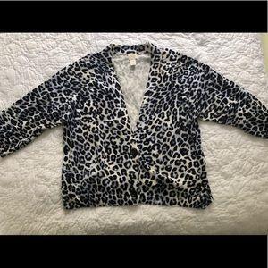 Chico's Blue Leopard Print Sweater size 4